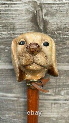 Fantastique Cane De Bâton De Presse De Chiens En Bois Vintage Fantastique (c1)