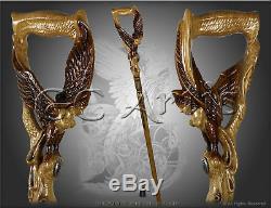 Fille Ailée Bâton De Marche Seins Femme Oiseau Main En Bois Sculpté Crafted Personnel L
