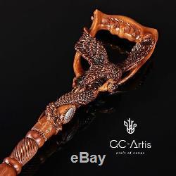 Fishing American Eagle Canne Canne Designer En Bois Sculpté À La Main Mz08