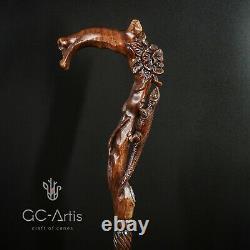 Fleur De Lézard En Bois Canne À Main Bâton Fabriqué À La Main Sculpté Pour Les Femmes Dames D