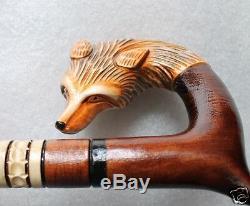 Fox Magnifique Canne De Marche En Bois Sculpté À La Main, 43 Pouces, Pour Homme De Grande Taille