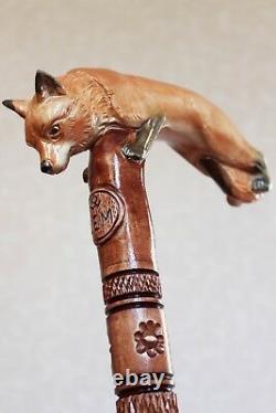 Fox Walking Bâton Canne Main Sculptée Randonnée En Bois Fait Main