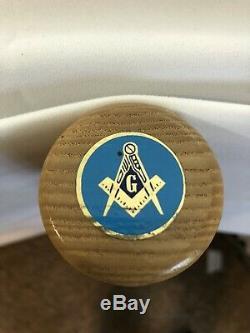 Freemason Bâton Canne En Bois Marche Maçonnique Pôle Bleu Logo Finition Du Bois