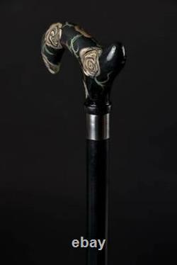 Glamorous Flowered Walking Stick Rose Derby Canne En Bois Sculpté À La Main