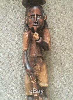 Grand Vintage Sculpté En Bois Marche Africaine Bâton Tribal Hommes 44 Long Home Decor