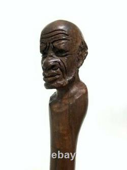 Homme Noir Main Sculptée En Bois Africain Homme Visage Bâton De Marche Canne 41.25 Long