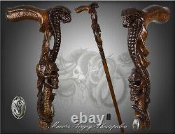 King Cobra Snake & Skull Head Wooden Walking Stick Cane Hand Carved Cadeau Pour Hommes