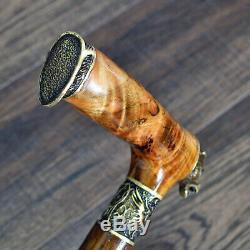 La Marche Canne Bâton Loup Pièces De Bronze À La Main En Bois # 6 Stabilisé Burl