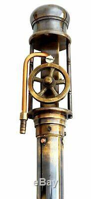 Laiton De Travail Machine À Vapeur Poignée Marche En Bois Bâton Antique Vintage Canes