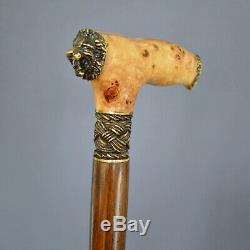 Lion Burl Main Canne En Bois Bâton Accessoires Bronze Craft Canes
