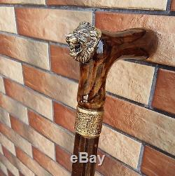 Lion Canne Bâton Burl En Bois Fait Main Accessoires Pour Hommes De Canne