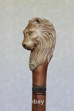 Lion Canne Bâton Poignée Sculptée En Bois Sur Mesure Randonnée Personnel
