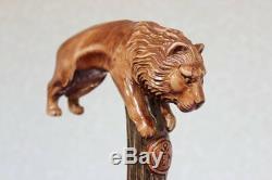 Lion Canne En Bois Poignée Sculptée À La Main Léo Bâton De Marche Équipe De Marche Bois Nw60