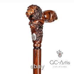 Lion King Wooden Walking Cane Stick Cadeau Pour Lui Ses Hommes Femmes Main Sculptée
