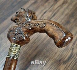 Lion Marche En Bois Bâton Canne Randonnée Unique Handmade Bronze Hêtre