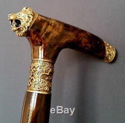 Lion Walking Burl En Bois À La Main Canne Bâton Accessoires Bronze Craft Canes Nouveau