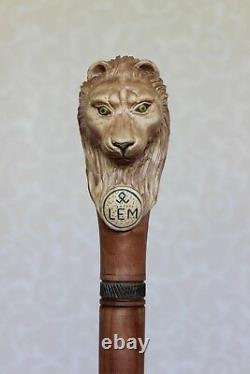 Lion Walking Stick Canne Sculptée Poignée En Bois Personnel Randonnée Personnalisé