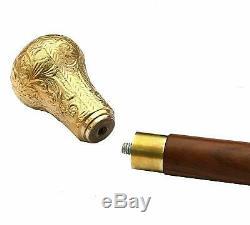 Lot De 3 Bâton De Marche De Canne En Bois Antique Vintage Brass Antique Vintage Manche