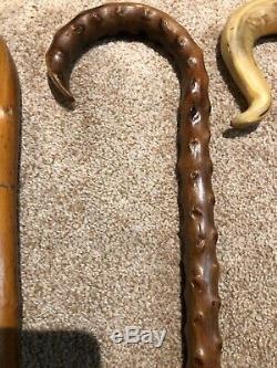 Lot De 5 Marche En Bois Antique Vintage Sticks Canes Art Populaire