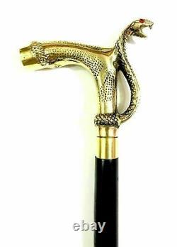 Lot De 6 Pièces Designer Head Brass Handle Walking Stick Cuir Cane En Bois Nouveau