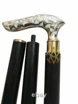 Lot De 9 Bâtons De Marche En Bois En Laiton/cane Stylle Working Genuine Handle Gift