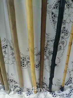 Lot De 9 Walking Vintage En Bois Stick & Canne Collection 6 Randonnée Médaillons