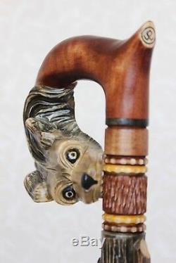 Loup Grappe De Raisin De Vigne Sculpté À La Main Bâton Canne En Bois À La Main