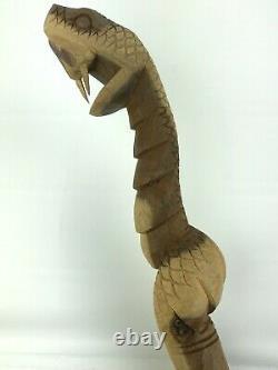 Main Découpée 39 Canne À Serpent En Bois Folk Art Wood Walking Stick