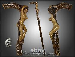 Main Sculptée Walking Stick Cane Love Naked Girl Cadeau Fabriqué À La Main Pour Les Hommes