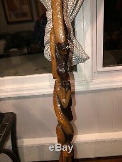 Marche Africaine Bâton En Bois De Canne Fait Main Visage Sculpté Tête Homme Afrique