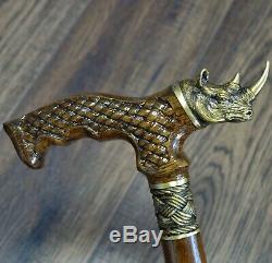 Marche Canne Bâton Canne Rhinocéros En Bois Fait Main Unique Bronze