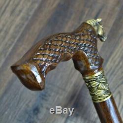 Marche Canne Bâton Cheval En Bois Canne Unique Main Bronze