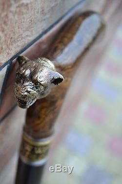 Marche De Canne Bâton Poignée De Tête De Bronze En Bois Ronce Exclusif À La Main Vintage