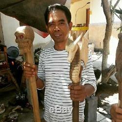 Marche En Bois Bâton Canne Dragon Head Wings Sticks Sculpté Balinaise Bali