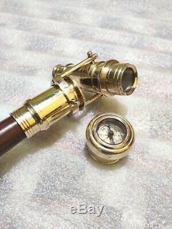 Marche En Bois Bâton Canne En Laiton Terminer Pliable Telescope Compass On Top