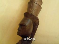 Marche En Bois Sculpté À La Main Bâton / Canne 2 Art Serpent Érotique Africain Figural 38