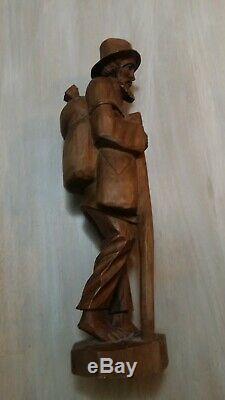 Marche En Bois Sculpté Vintage Main Homme Avec Bâton, Sac À Dos Et Panier Rare