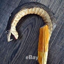 Marche En Bois Unique Bâton De Canne Randonnée Main Du Personnel Sculpté À La Main Cobra