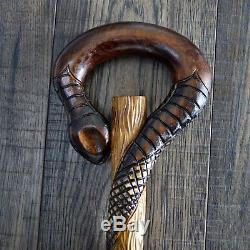 Marche En Bois Unique Bâton De Canne Randonnée Main Du Personnel Sculpté À La Main Serpent