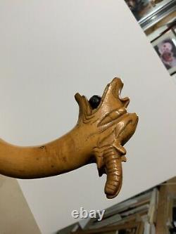 Marche En Bois Vintage Canne Bâton Dragon Poignée De Pierre Orb Sculpté À La Main 39