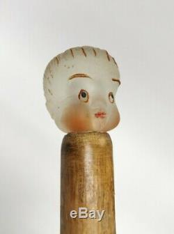 Marche En Bois Vintage Inhabituel Bâton De Canne Avec Un Verre De Tête D'un Enfant