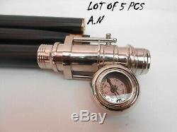 Marche En Bois Vintage Memory Stick Telescope & Compass Sur Le Dessus La Poignée, 5 Bâton