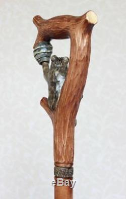 Marche Peut Supporter Et Ruche Canne En Bois Bâton De Marche Fait Main Bâton Sculpté Nw63