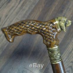 Marcher Canne Bâton Chien Limier En Bois Canne Unique Main Bronze