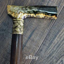Marcher Canne De Bâton En Bois Pièces Bronze Main En Bois Acrylique Stabilisé Burl # 13