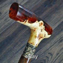 Marcher Canne De Bâton En Bois Pièces Bronze Main En Bois Acrylique Stabilisé Burl # 17