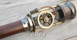 Modèle Vintage De Machine À Vapeur Laiton Poignée En Bois Bâton De Marche Canne Steampunk