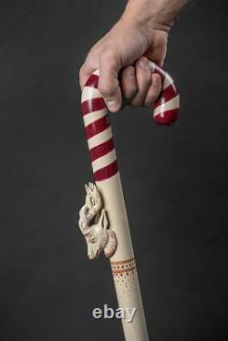 Noël Peppermint Walking Stick Luxury Deer Wooden Cane Marvelous Xmas