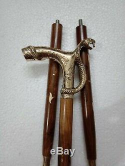 Nouveau Lourd Laiton 2 Jeu De Serpent Dragon Head Avec Poignée Brun Bâton En Bois Walking