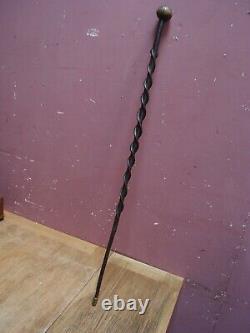 Original Anticique Véhicule Wooden Snakes Walking Stick Brass Ferrule 1900s